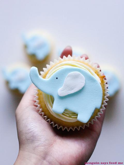 Cupcake Chá de Bebê: Elefantinho azul