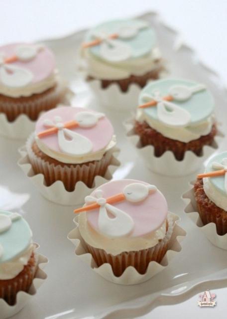 Cupcake Chá de Bebê: Cegonha