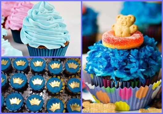 Cupcake Chá de Bebê: Modelos com a cor azul