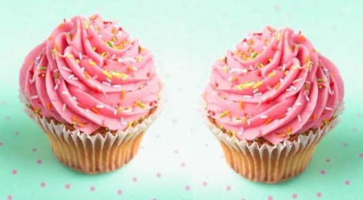 Cupcake Chá de Bebê: Rosa com granulado colorido