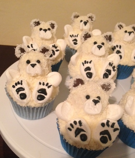 Cupcake Chá de Bebê: Ursinho branco