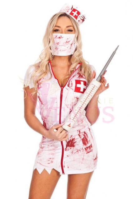 Fantasia de zumbi feminina: Enfermeira com seringa gigante