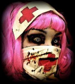 Fantasia de zumbi feminina: Enfermeira com maquiagem estilo cosplay