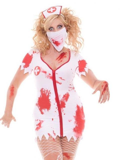Fantasia de zumbi feminina: Enfermeira com manchas de sangue