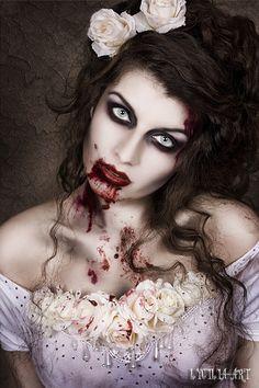 Fantasia de zumbi feminina: Maquiagem de noiva