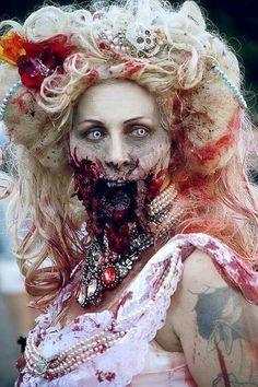 Fantasia de zumbi feminina: Noiva com maquiagem personalizada