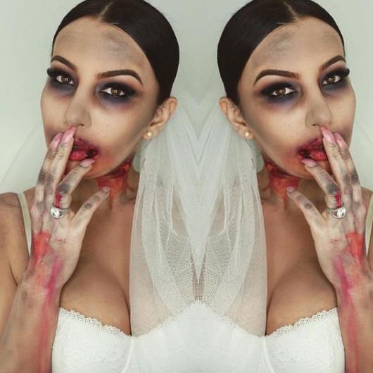 Fantasia de zumbi feminina: Noiva com manhas de sangue