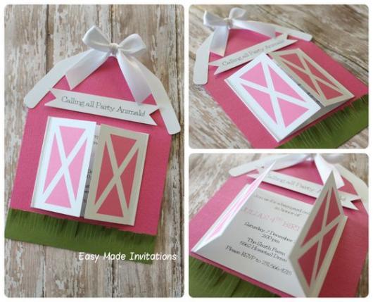 Festa fazendinha rosa: Convite com formato de celeiro
