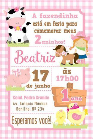 Festa fazendinha rosa: Convite cartão