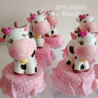 Festa fazendinha rosa lembrancinha: Potinho de doce com aplique de biscuit