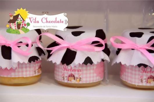 Festa fazendinha rosa lembrancinha: Potinho de doce personalizado