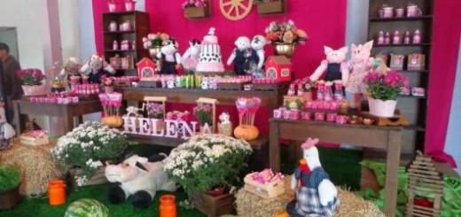 Festa fazendinha rosa decoração rústica com painel rosa