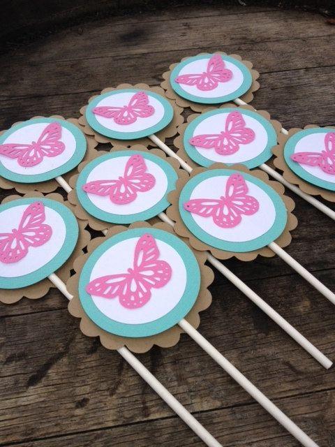 Lembrancinhas Primavera pirulito de chocolate com aplique de borboleta