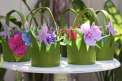 Lembrancinhas Primavera sacolinha surpresa estilo cesta de flores