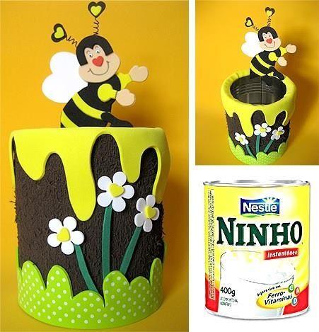 Lembrancinhas Primavera com lata personalizada de abelinha