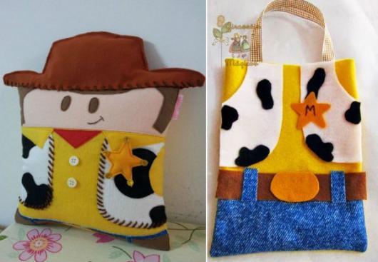 Modelo de almofada e sacola artesanal do Toy Story