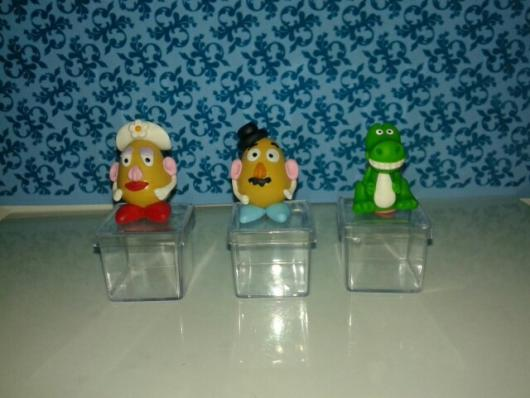 Potinhos de acrílico com bonecos Toy Story de biscuit para por doces