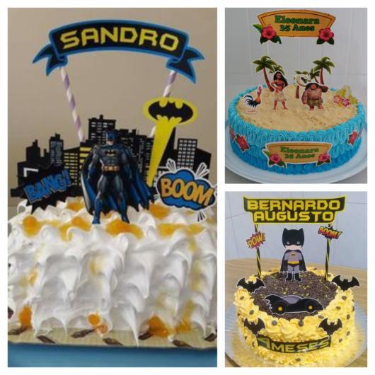 Você pode montar o topo de bolo de diversas formas e ainda personalizar de acordo com o aniversariante!