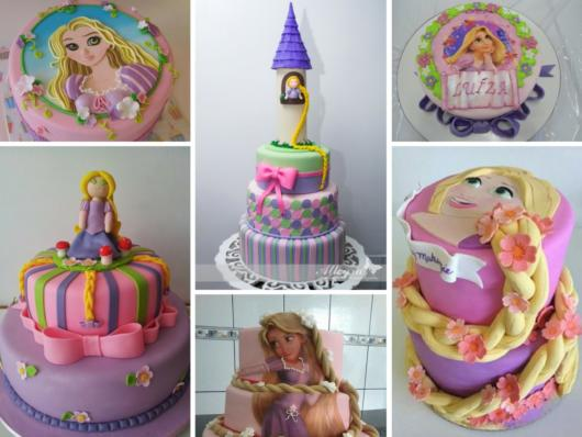 Há muitas e muitas possibilidades para fazer bolos inspirados na Rapunzel