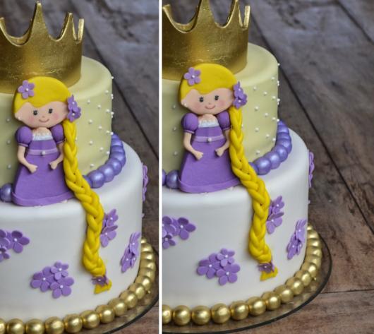 Bolo lindinho da Rapunzel com tranças longas