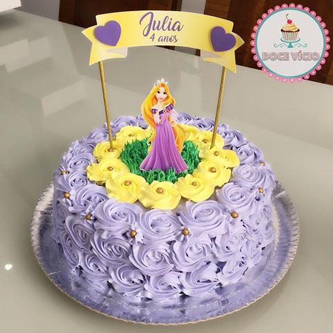 Ideia de bolo para festa com tema Rapunzel