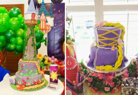 Duas opções de bolos de pasta americana da Rapunzel e Enrolados