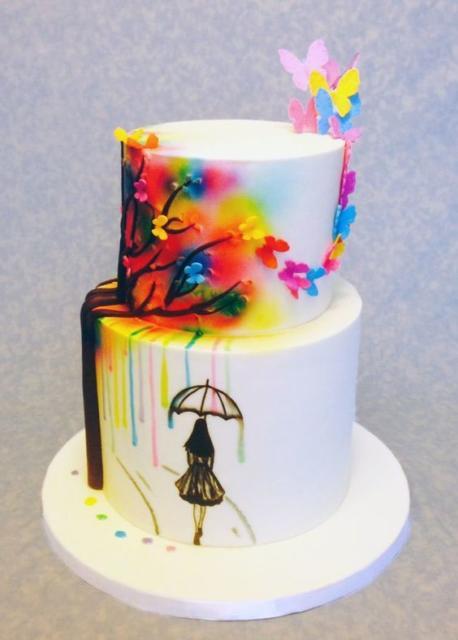 Bolo de 18 anos: Criativo com pintura estilo aquarela