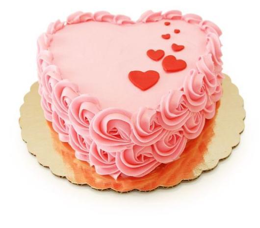Bolo de coração com chantilly: Rosa