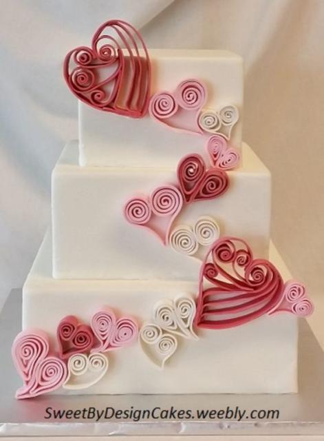 Bolo de coração para casamento: Quadrado