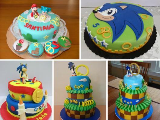 Vários modelos de bolo do Sonic para festas de todos os portes