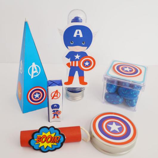 Kit festa Capitão América para um evento infantil