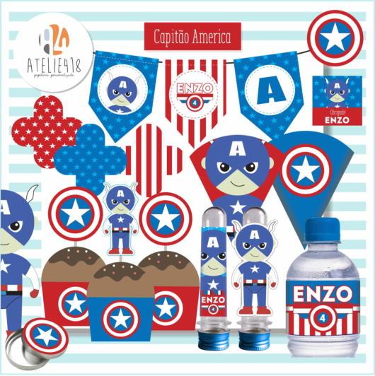 A versão baby do Capitão América é bem atrativa e ideal para as crianças