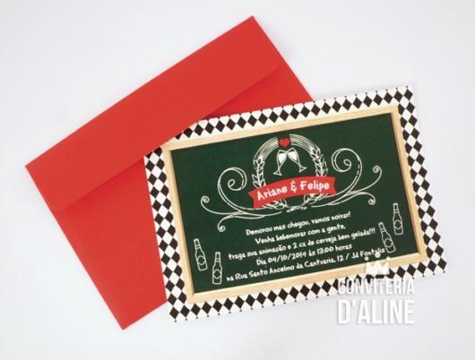 Chá Bar: Convite boteco com envelope vermelho