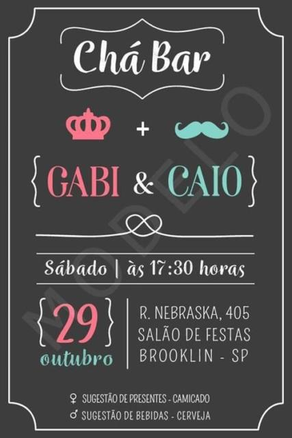 Chá Bar: Convite chalkboard