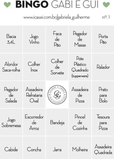 Chá Bar: Brincadeira bingo