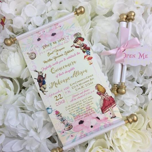 Convite Alice no País das Maravilhas: Pergaminho