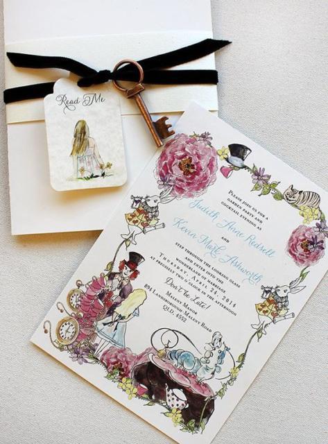 Convite Alice no País das Maravilhas: Cartão com flores