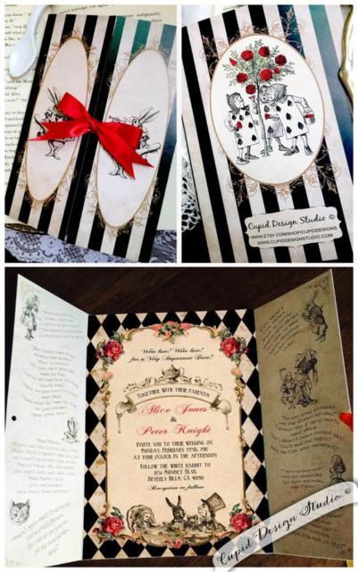Convite Alice no País das Maravilhas: Janela preto e branco