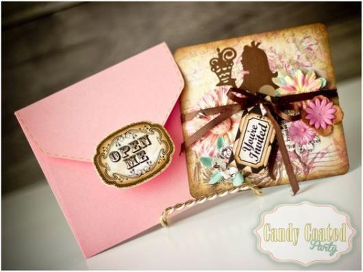 Convite Alice no País das Maravilhas: Rosa e dourado