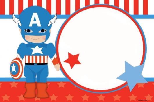 Convite Capitão América para editar e imprimir grátis - ideal para uma festa baby