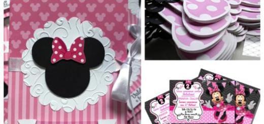 Os convites da Minnie podem ser usados em aniversários e chás de bebê