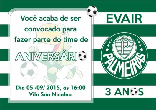Modelo de convite do Palmeiras para uma festa de 3 anos