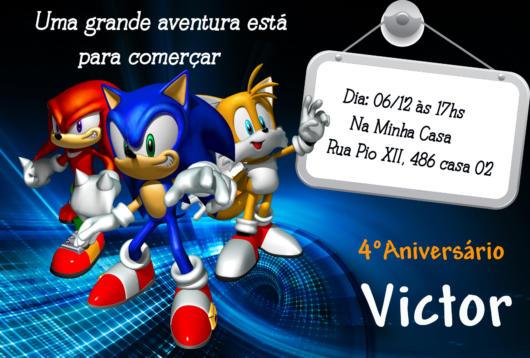 Você também pode destacar no convite outras versões e personagens do Sonic