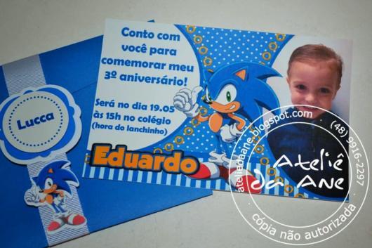 Distribua o convite do Sonic em um envelope customizado