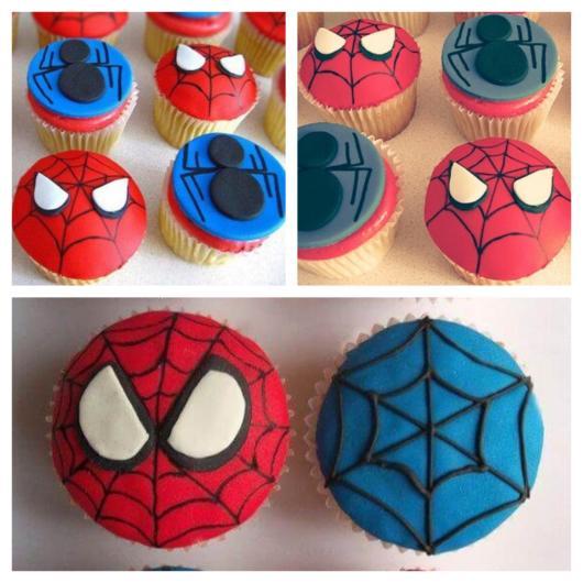 O cupcake deve contar com as cores principais do herói: vermelho, azul e preto