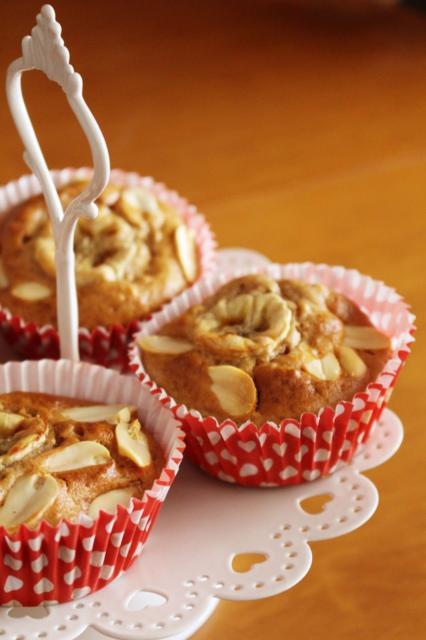 Cupcakes de banana com castanhas