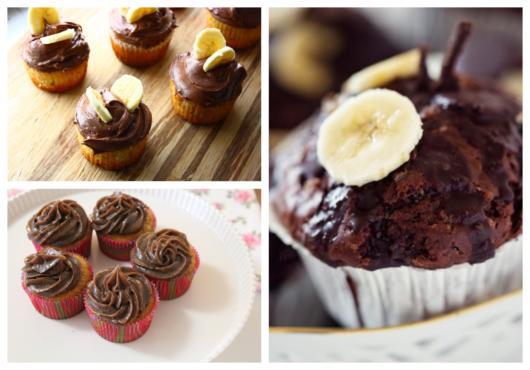 cupcake de banana com chocolate