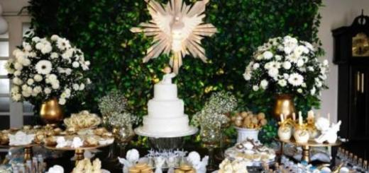 Decoração de batizado feminino: Branco e dourado