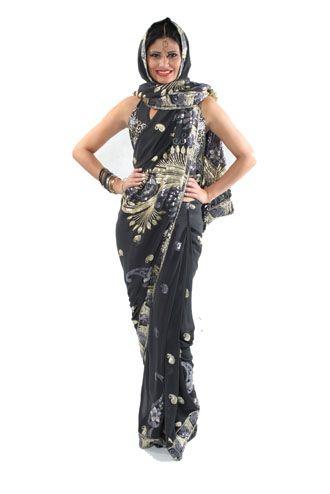 Fantasia indiana feminina preta e dourada