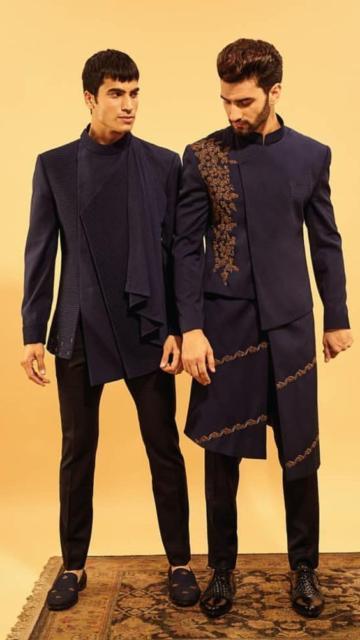Fantasia indiana masculina azul escuro